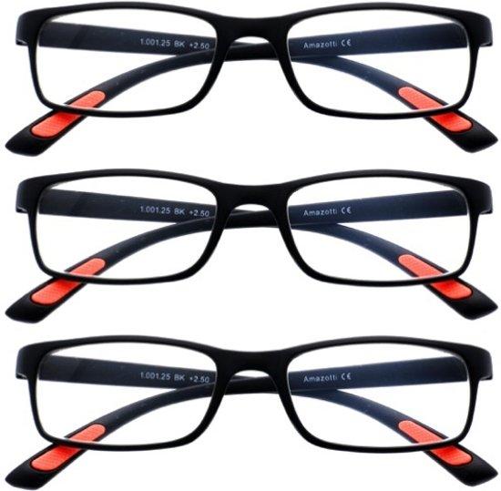 Amazotti Set van 3, Super-lichte Trendy Leesbril – zwart - sterkte +1.00