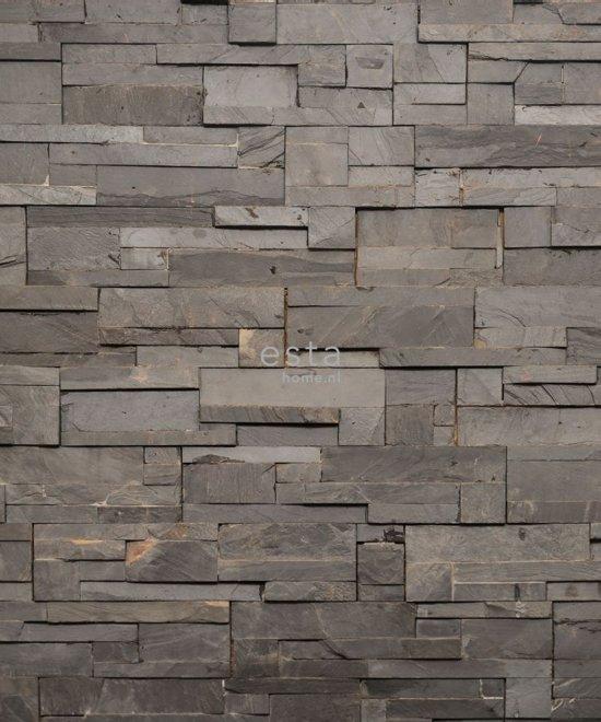 ESTAhome fotobehang kops hout compositie grijs - 158208