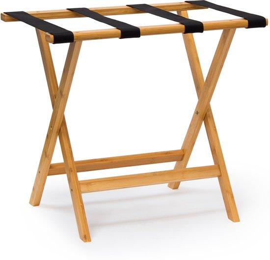 36f1ee4807c relaxdays kofferrek van bamboe, bagagerek inklapbaar, kofferstandaard hout  bruin