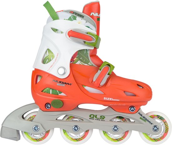 36ba709fa5c Nijdam Junior Inlineskates Junior Verstelbaar - Hardboot - Jungle -  Perzik/Groen/Wit -