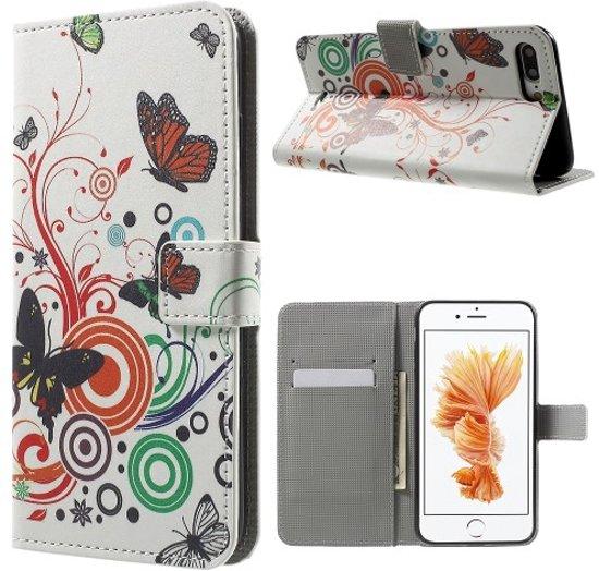 Apple iPhone 7 Plus Hoesje Vlinders met Opbergvakjes in Ellezelles