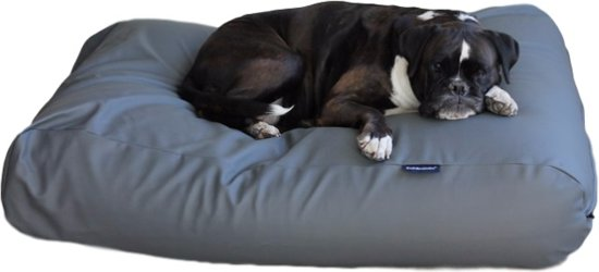 Dog's Companion Hondenkussen - L - 115 x 85 cm - Kunstleer - Muisgrijs Leather Look