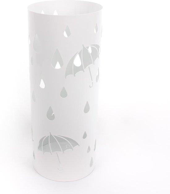 Paraplubak - Regendruppels - Parapluhouder Wit - Vrijstaand Rond metaal