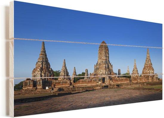 Oude Tempels in Ayutthaya Vurenhout met planken 80x40 cm - Foto print op Hout (Wanddecoratie)