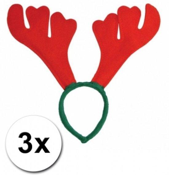 3x Rendier diadeem rood met groen - kerst