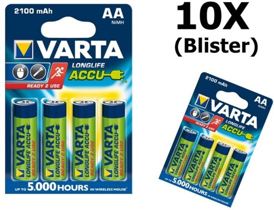 40 Stuks (10 blisters a 4stk) - Varta Oplaadbare Battery AA 2100mAh 56706