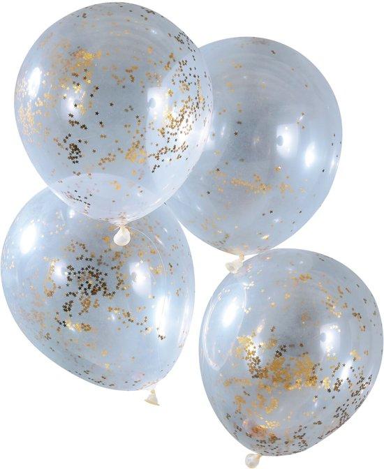 Ballonnen gevuld met gouden glitter ster confetti Ø 28 cm - Set-5 Valentinaa