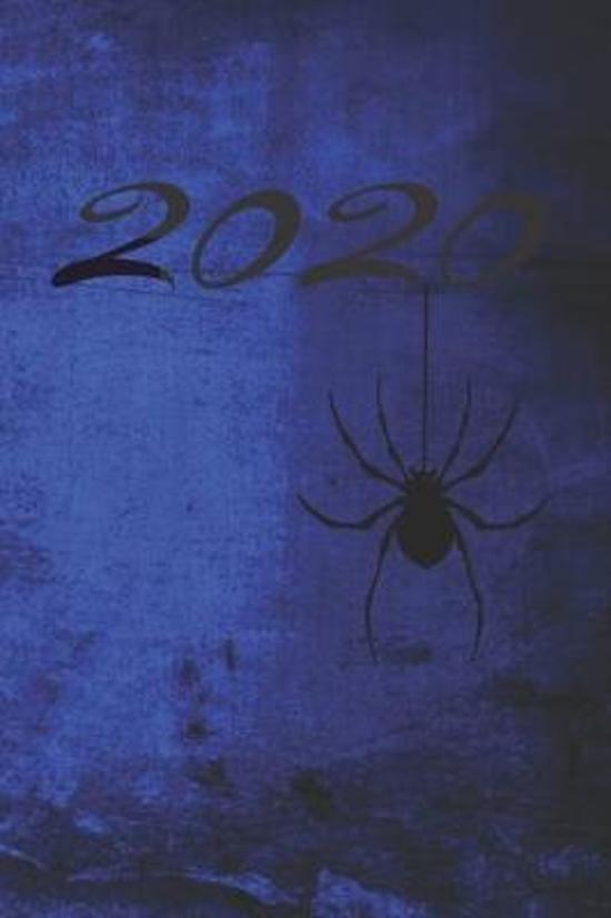 Grand Fantasy Designs: 2020 calligraphy gothic spider blue - Notebook 6x9 checkered
