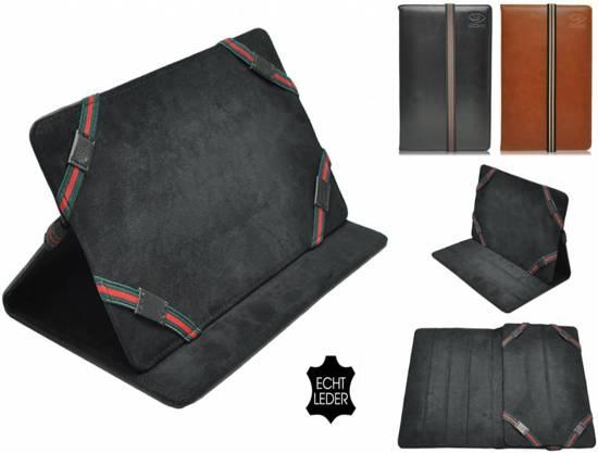 Luxe Cover voor Hp Pro Tablet 610, Echt lederen Hoes, Multistand Case, bruin , merk i12Cover in Vliermaalroot