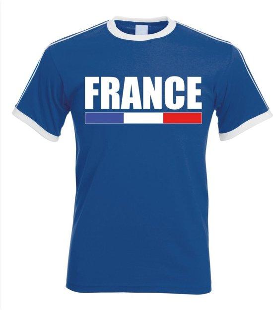 Blauw Frankrijk supporter ringer t-shirt met witte randjes heren - Franse vlag shirts S