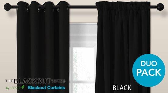 luxe blackout gordijn met haak zwart 15x25m verduisterend kant en