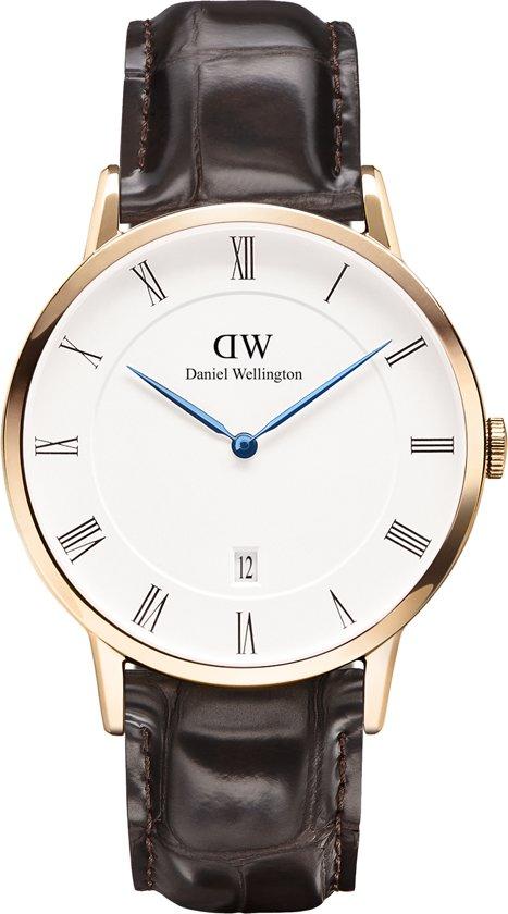 Daniel Wellington Dapper York DW00100085 - Horloge - Leer - Bruin - Ø 38mm