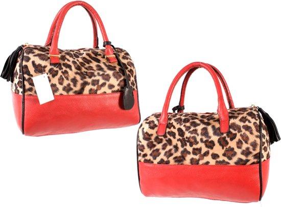 405276c1f8a bol.com | Amelie Luipaard print hand tas Avond tas Rood kunstleer ...
