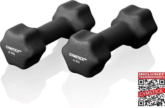 Gymstick Dumbells - Met trainingsvideo's - 2 x 6 kg - Neopreen