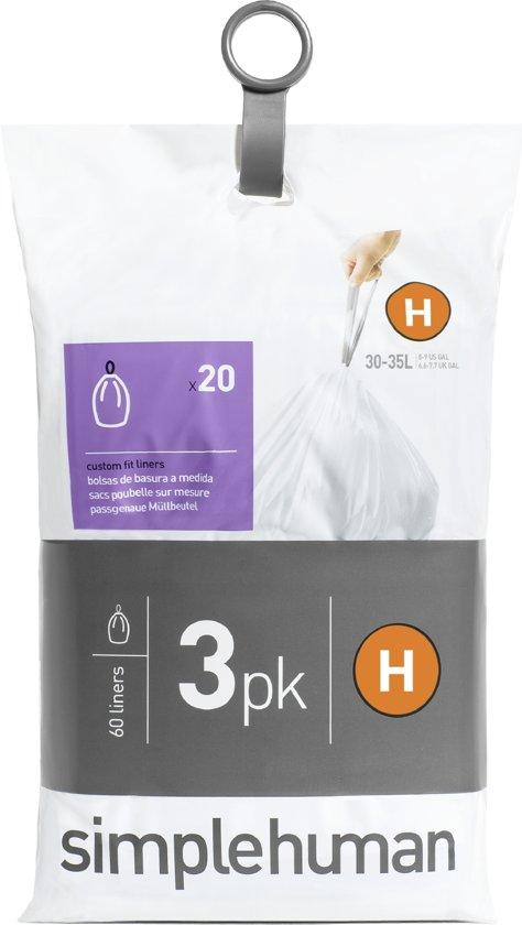 Simplehuman Afvalzak Code H Pocket Liners 30 Liter (60 stuks)