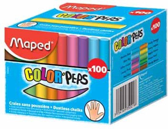 Krijtjes assorti kleur stofvrij - in doos x 100