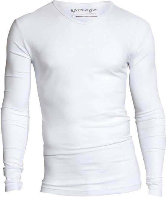 Garage 204 - T-shirt l/sl bodyfit V-neck white XXL 95%cotton/5% elastan