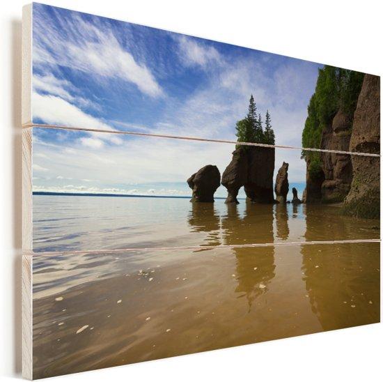 De Lovers Arch in Fundybaai Vurenhout met planken 30x20 cm - klein - Foto print op Hout (Wanddecoratie)