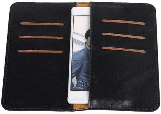 Zwart Pull-up Medium Pu portemonnee wallet voor Huawei Honor 3