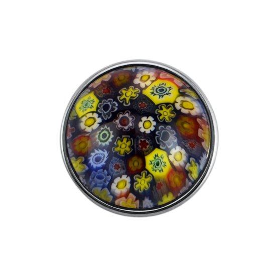 Quiges - Dames Click Button Drukknoop 18mm Multi Bloemen Glas - EBCM171