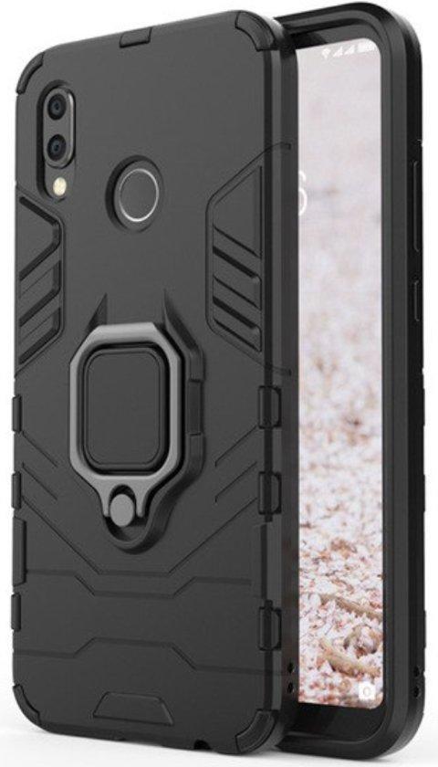 Luxe Extreem Stevige Armor Hoesje voor Huawei P20 Lite - Shockproof Case - Cover Zwart - Magneet - Magnetisch voor autohouder - met Ring Kickstand