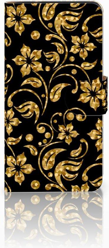 Samsung Galaxy J2 2016 Bookcase hoesje Design Gouden Bloemen