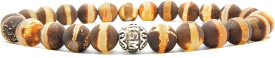 Beaddhism - Armband - Matt Brown Striped Dzi - Gosha - 8 mm - 19 cm