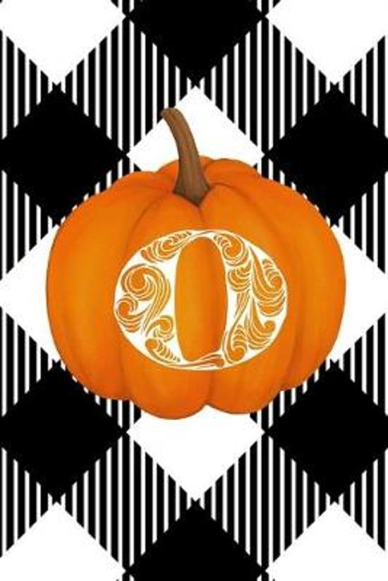 O: Cute Pumpkin Monogram Initial Letter O White Buffalo Plaid Check Personalized Gratitude Journal for Women and Girls