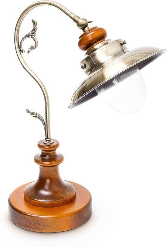 relaxdays Tafellamp gebogen design - Bureaulamp retro - Leeslamp verstelbare lampenkap.