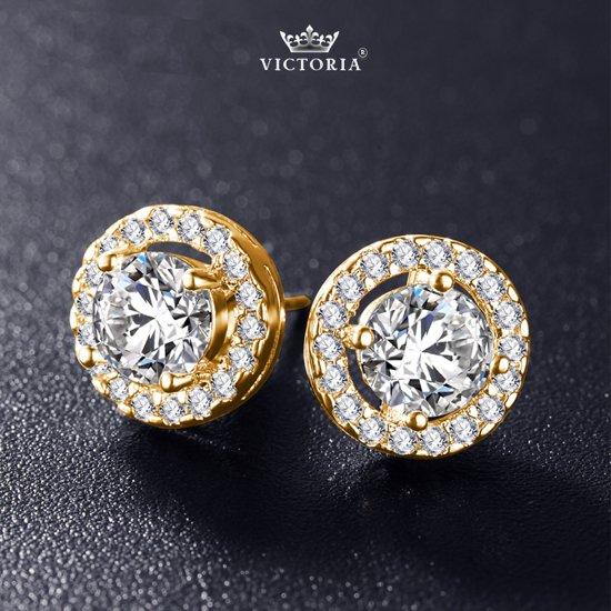 Victoria - Goudkleurige Oorbellen - Topkwaliteit AAA Zircone Kristallen