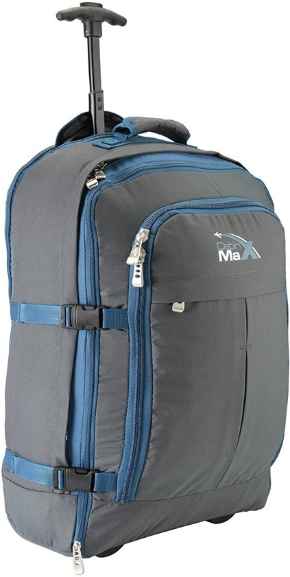 CABINMAX MALMO EXPANDABLE LAPTOP TROLLEY BACKPACK - 55x40x20cm - handbagage - rugzak - perfect for Travel Overnight Weekend (MALMO GY/BE)