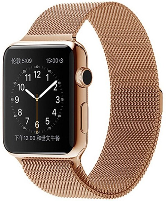Milanese Loop Armband Voor Apple Watch Series 4 44MM Iwatch Metalen Milanees Horloge Band - Rose Goud Kleurig