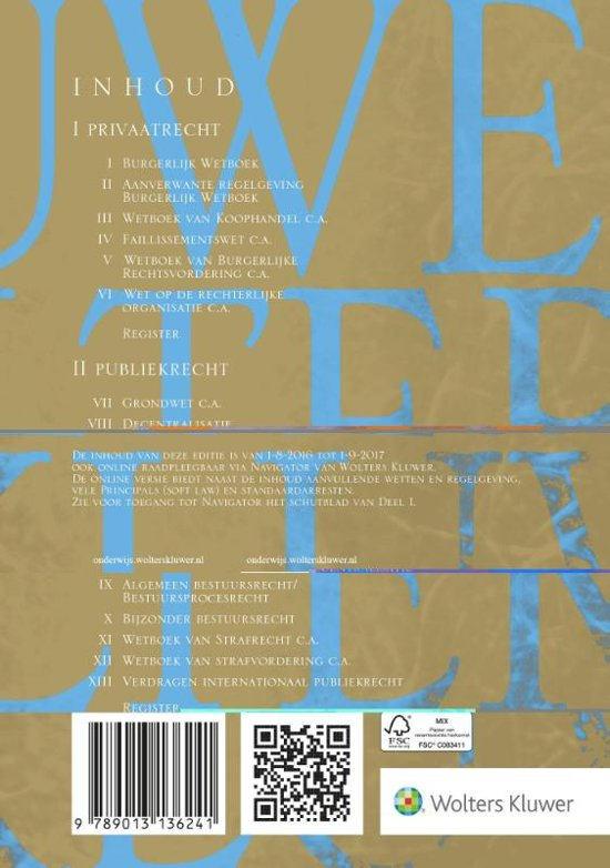 Boek cover Kluwer wet bundel oude editie 2016/2017 van Henk Kummeling (Paperback)