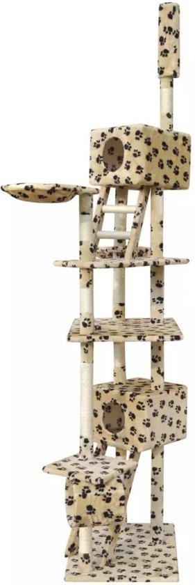 vidaXL Kattenkrabpaal 230-260 cm 2 huisjes beige met potenprint