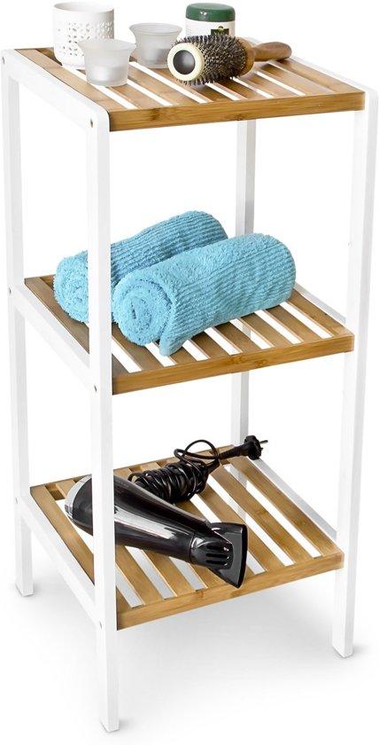 Open Kast Voor Badkamer.Bol Com Relaxdays Badkamerkast Bamboe Hout Wit 3 Pl