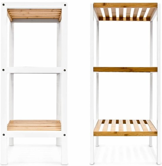 Relaxdays Badkamerkast Bamboe Hout Wit 3 Pl Badkamermeubel Open Kast Planken Badkamer