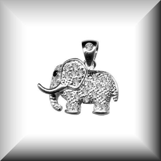 Schitterende hanger van een zilveren olifant met Zirconia's