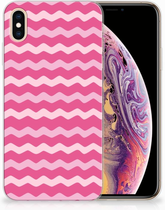 iPhone Xs Max  TPU-siliconen Hoesje Waves Pink