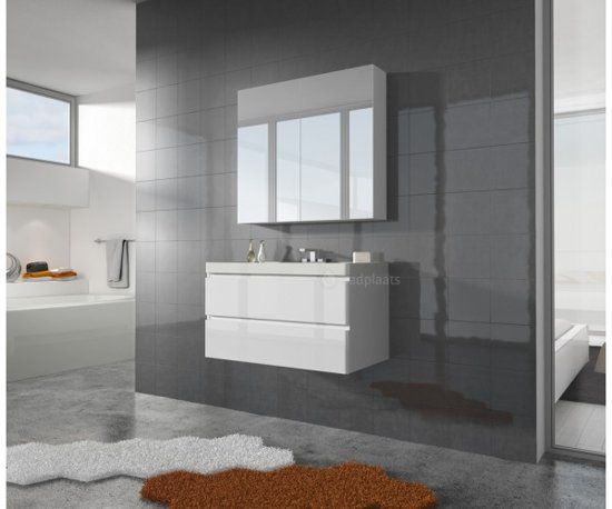 Badkamermeubel 90 Cm : Bol badkamermeubel aruba cm zonder spiegel hoogglans wit