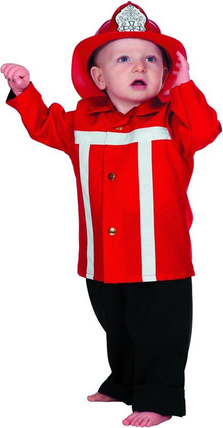 Brandweer baby kostuum - Verkleedkleding - Maat 92