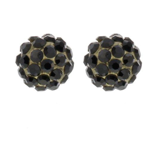 Oorknoppen zwart swarovski elements