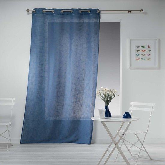 bol.com | Sleepp - Vitrage met ringen - linnen - 140 x 240 cm - blauw