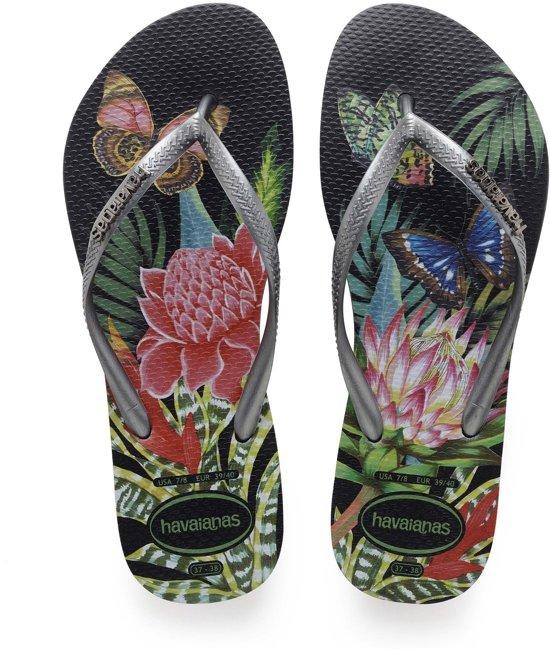 88019f50191c44 bol.com | Havaianas slippers slim tropical zwart/graphite - Maat 35/36