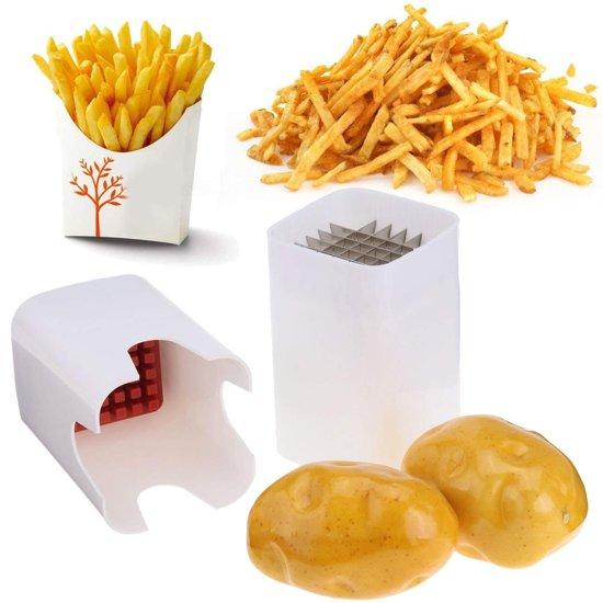RVS Frieten Snijder - Fritessnijder - Franse Patat Friet Aardappel Snijder Slicer Cutter - Wit