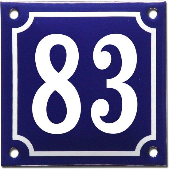Emaille huisnummer blauw/wit nr. 83