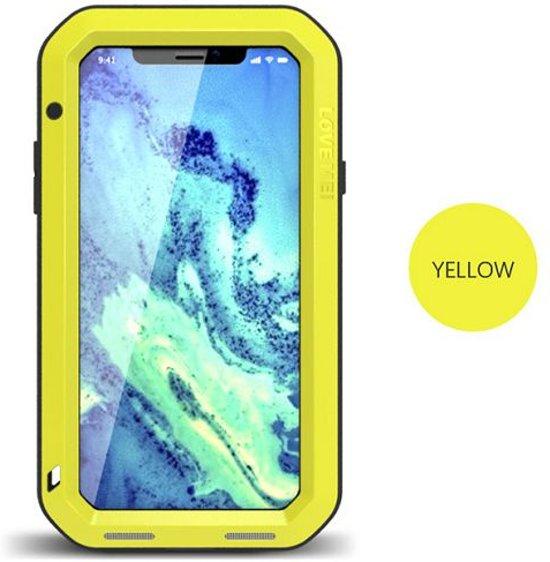 Metalen fullbody hoes voor Apple IPhone X en iPhone XS, Love Mei, metalen extreme protection case, zwart-geel