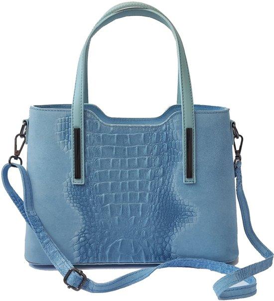 d6a024dfc67 TOUTESTBELLE - Leren tas met schouderriem croco mat - Handtas - Dames -  Lichtblauw