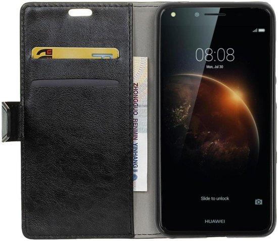 Huawei Y6 II Compact Leren Portemonnee Hoesje Zwart in Drieënhuizen