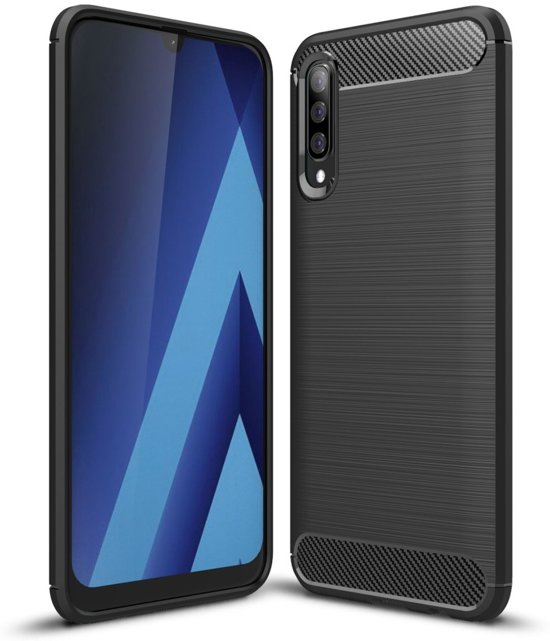 Samsung Galaxy A70 Hoesje - Armor Brushed TPU - Zwart