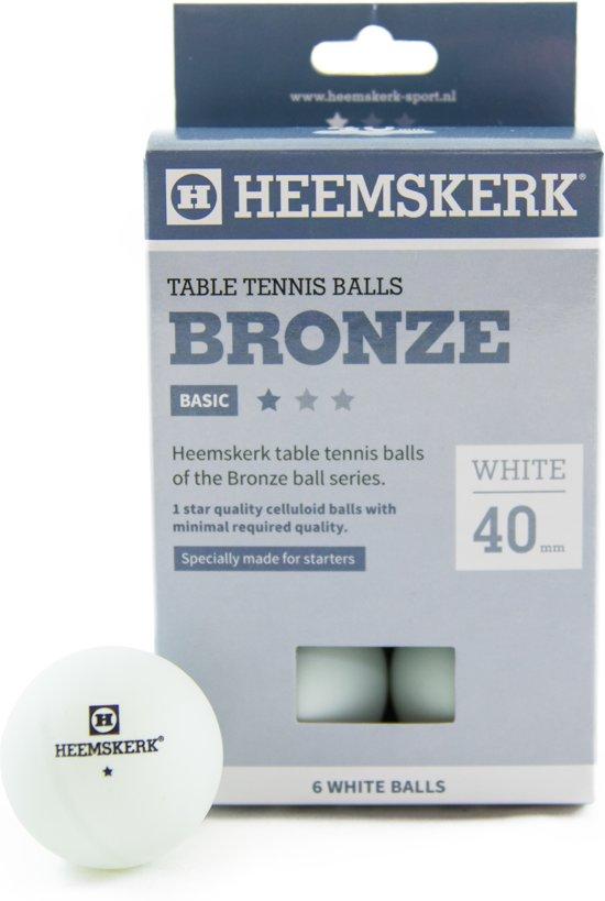 Tafeltennisballen Heemskerk Bronze 1 ster wit 6 stuks
